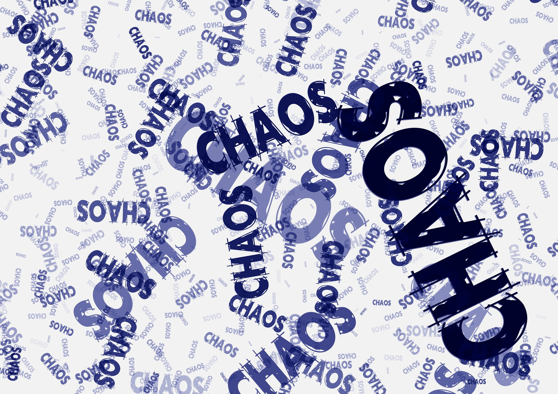 The word chaos shown multiple times in disorganized order.