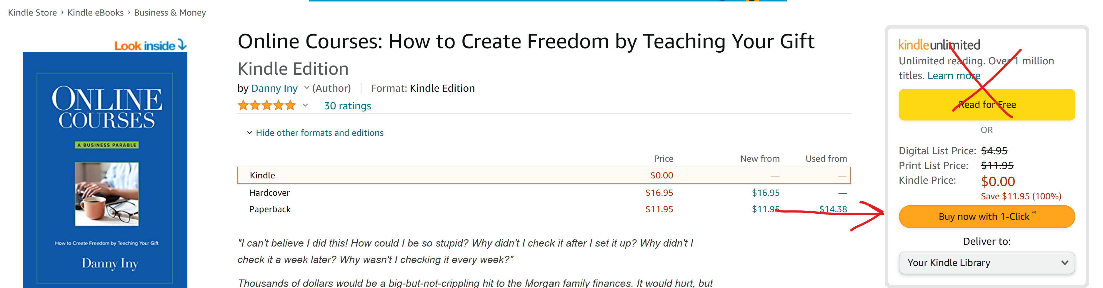 screen capture showing how to buy a book with 1-Click